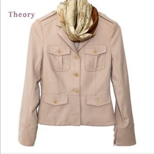 Theory wool blend crop jacket  light cream size 2